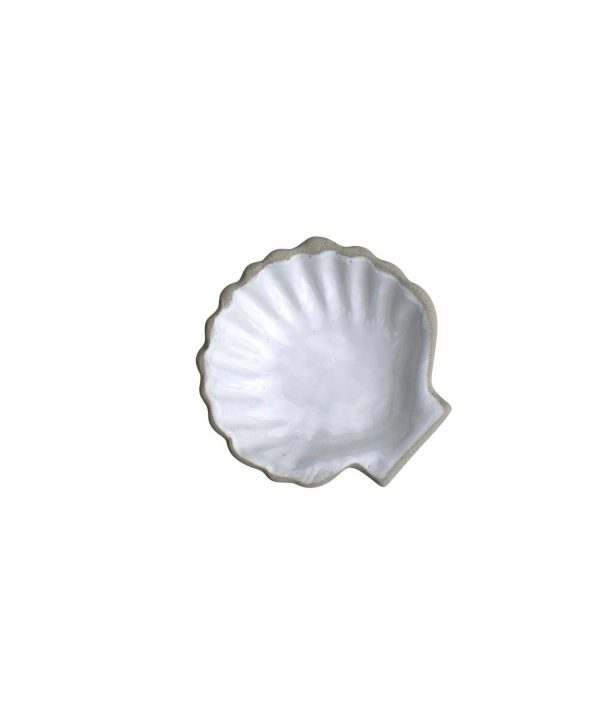 Curves white glaze seashell dish