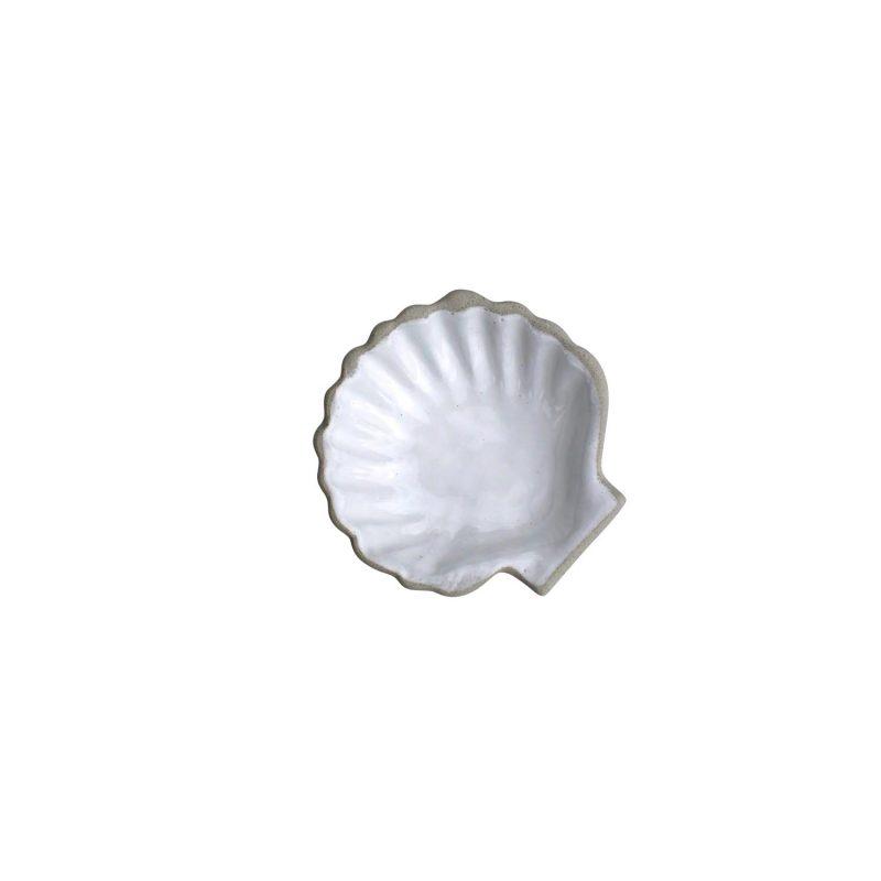 Curves white glaze seashell dish