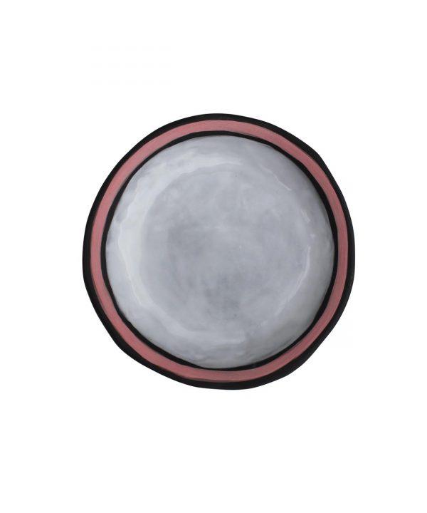 Curves black clay bowl - pink rim