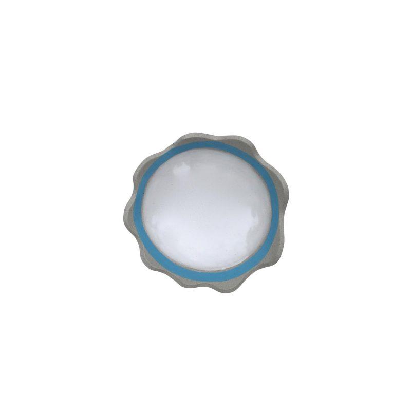 Curves scallop blue rim dish