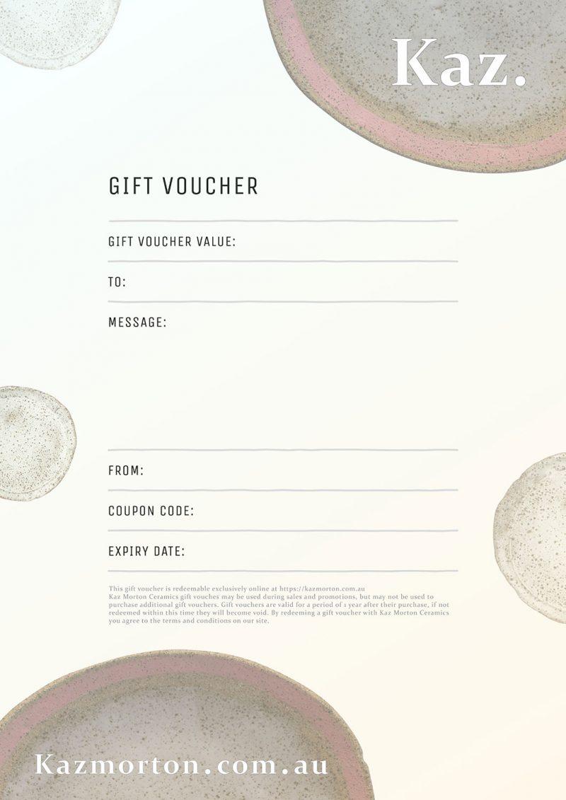 Kaz Ceramics Online Gift Voucher